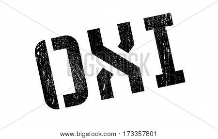 Oxi - NO In Greek - rubber stamp. Grunge design with dust scratches. Effects can be easily removed for a clean, crisp look. Color is easily changed.