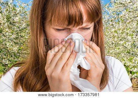 Woman With Allergy Near Flowering Trees