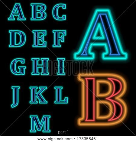 Luminous neon alphabet Vector font. The color of light is easily changed. Neon letters on a dark blue background isolated. Latin characters. Part 1