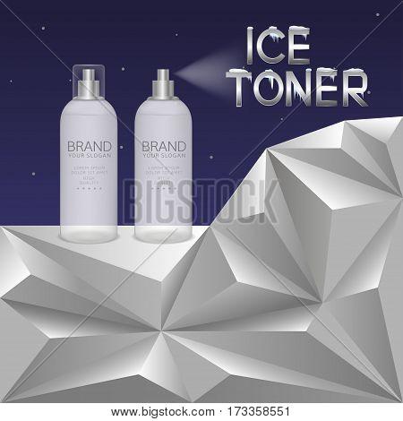 Ice toner bottle on winter background Vector illustration