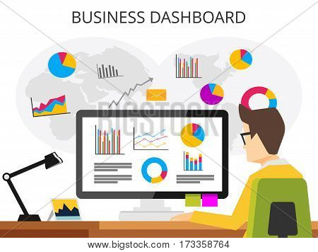 Business analyst. Professional business man analyzing business growth by business dashboard. Marketing research concept flat design for web banner web element or book cover
