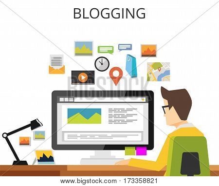 Blogger writing article. Blogging concept. Blog concept. Internet contents.