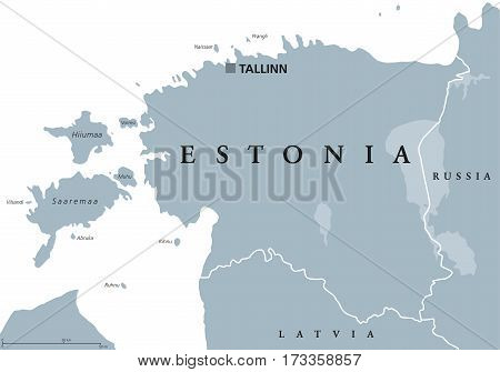 Estonia political map with capital Tallinn, national borders and neighbor countries. Republic in Northern Europe, one of the three Baltic states. Gray illustration over white, English labeling. Vector