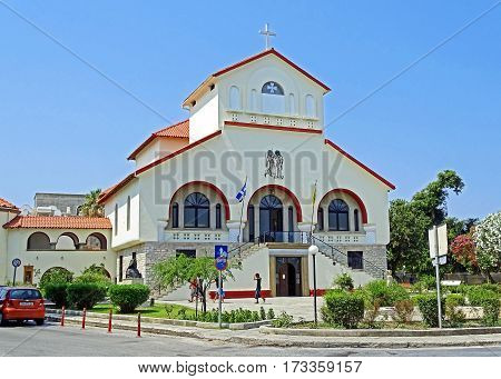 Kos, Greece - July 31, 2015: Evangelismos Church in Kos, the capital of the island of Kos, Greece.
