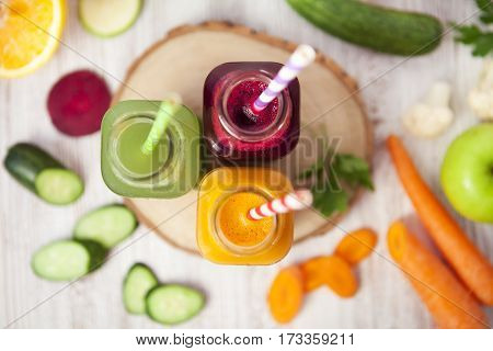 Freshly Squeezed Vegetable Juice In Bottles, Useful Vitamin Cocktail, Detox Diet, Selective Focus