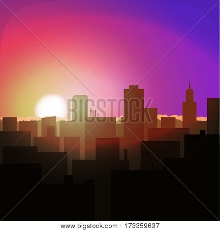 sunrise or sunset in metropolis. city landscape evening or morning. urban architecture skyline cityscape. dawn or dusk