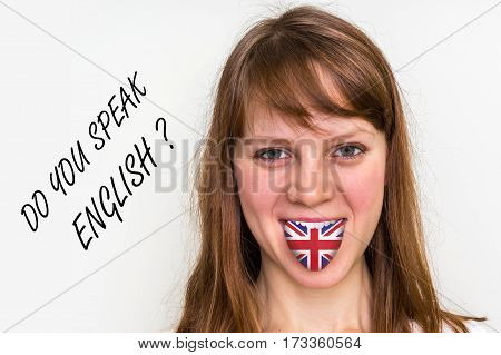 Do You Speak English? Woman With Flag On The Tongue