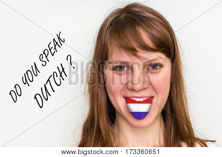 Do You Speak Dutch? Woman With Flag On The Tongue