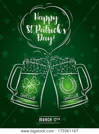 Green card for St. Patrick's Day with two beer mug horseshoe and shamrock vector illustration.