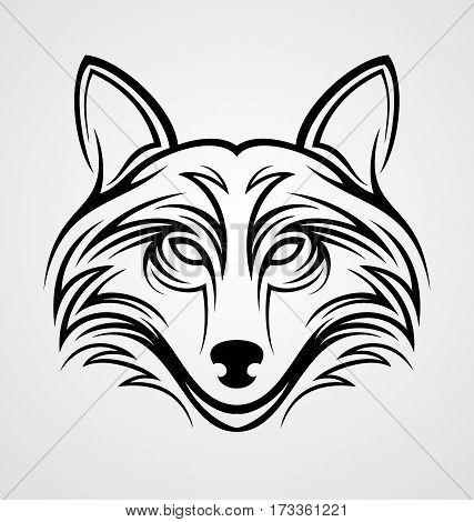Fox head tribal tattoo design vector illustration