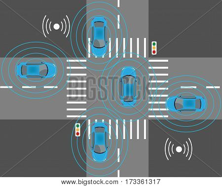 The sensors of smart cars that detect nearby obstacles other cars street lights and wi-fi signals.