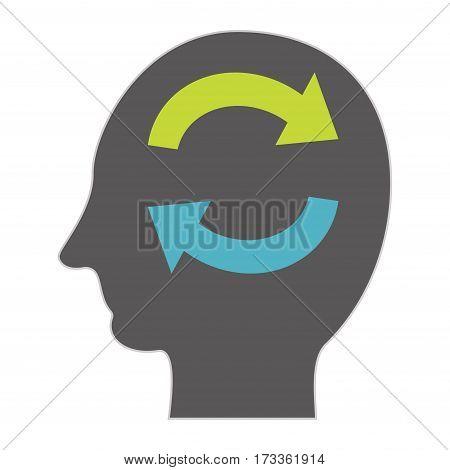 Human brainstorming or remembering concept. Human memory symbol