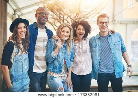Five Friends Smiling To Camera