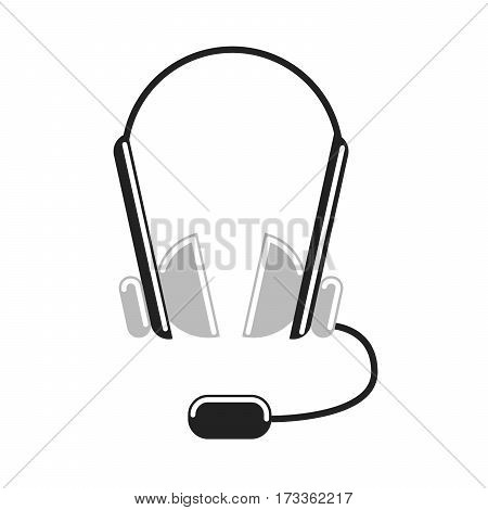 Isolated headphones on white background. Headphone and earphone. Audio equipment. Microphone.