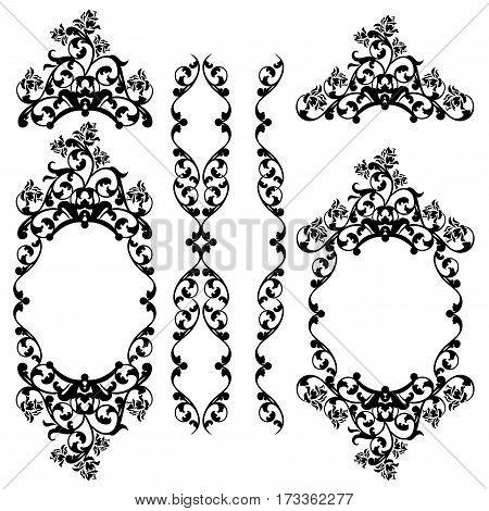 floral black and white vintage style decorative design vector set