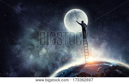Men that get moon . Mixed media