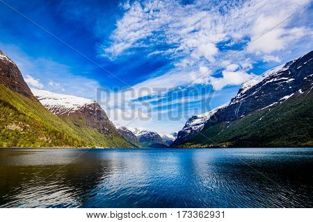 Beautiful Nature Norway natural landscape. lovatnet lake.