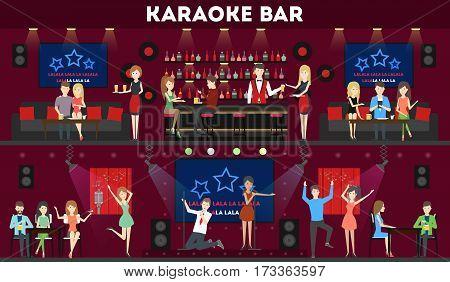 Karaoke bar interior set. Bar and scene, dance hall and visitors.