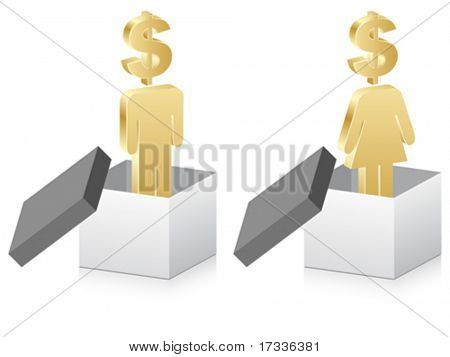 man and woman with dollar inside of box