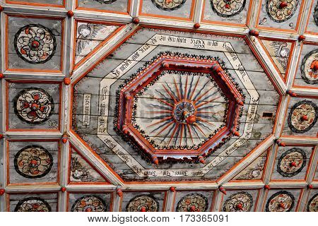 Inside the Fortified medieval saxon church Codlea, the largest in the Burzenland historic region, Transylvania, Romania. The city of Codlea is believed to have been also founded by Germans. poster