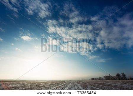 Agricultural field from the harvest in the winter morning at sunrise