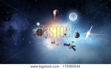 System of planets . Mixed media . Mixed media