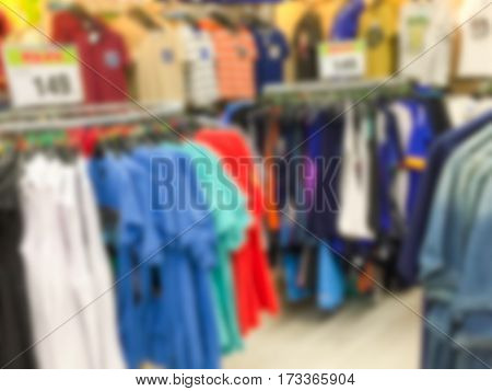 Abstract blurred background . clothing boutique store .