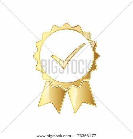 Golden medal icon with ribbon and check mark inside. Abstract golden medal isolated on white background. Silhouette of trophy awards or medal. Vector illustration.
