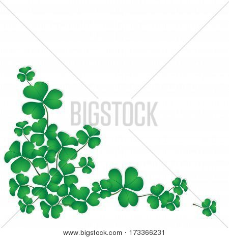 Shamrock design with white space background for Saint Patrick's Day. Green clovers corner isolated on background. Vector illustration.