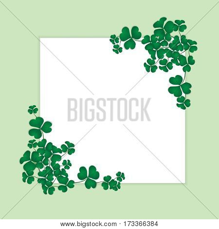 Shamrock design with white space background for Saint Patrick's Day. Green clovers border and frame isolated on background. Vector illustration.