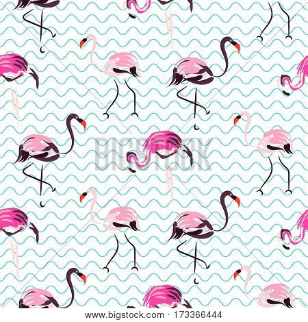 Hand drawn purple flamingo bird on blue zig zag waves seamless pattern. Tropic birds on white with brush strokes and hand painted pink plumage decoration.