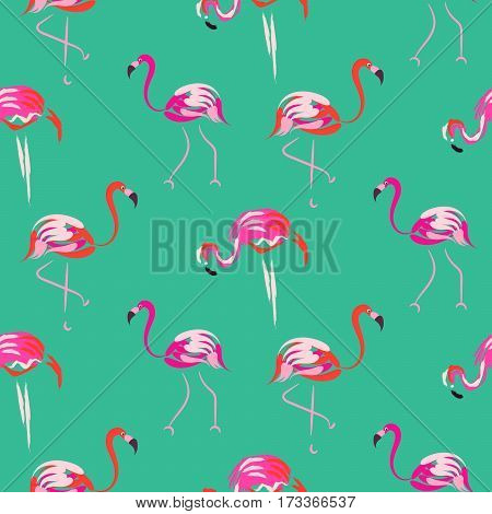 Hand drawn pink flamingo seamless mint pattern vector. Tropic birds on green with brush strokes and hand painted coral plumage decoration.