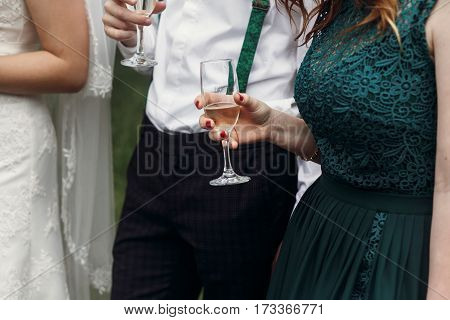 stylish wedding couple toasting with guests holding glasses of champagne. moment of wedding reception of gorgeous bride and groom
