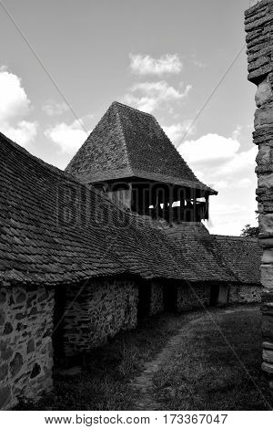 Old medieval fortified saxon church in the village Viscri, Transylvania, Romania.