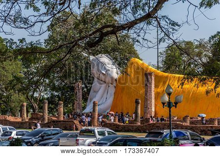 Lying White Buddha Statue In Buddhism Religion