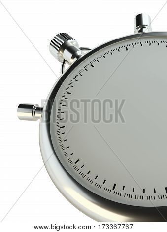 Stopwatch without numbers. Isolated on white background. 3d illustration. Empty place for your content