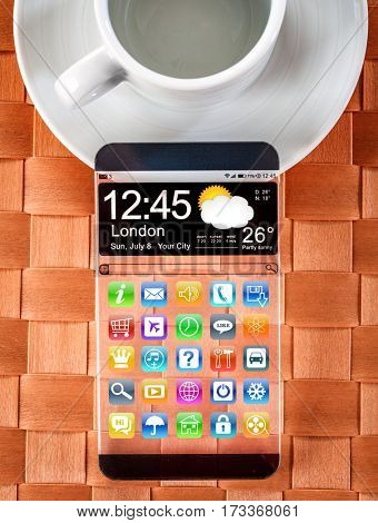 Smartphone (phablet) with a transparent display. Concept actual future innovative ideas and best technologies humanity.