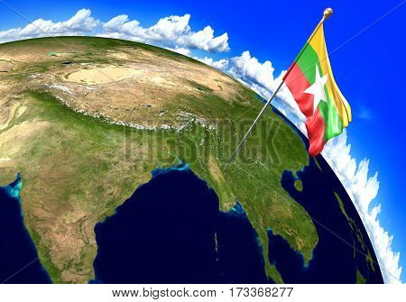 Myanmar national flag marking the country location on world map. 3D rendering, parts of this image furnished by NASA