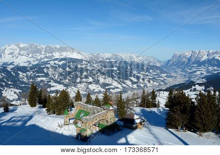 Wagrain Austria - January 30 2017: Mountains and valley in winter nearby Wagrain and Alpendorf.