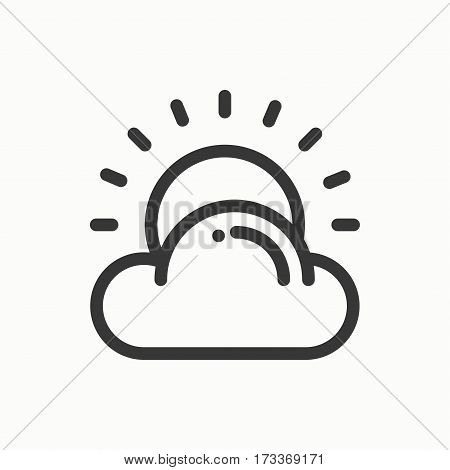 Sun, cloud line simple icon. Weather symbols. Meteorology. Forecast design element. Template for mobile app, web and widgets. Vector linear icon. Isolated illustration. Flat sign. Logo