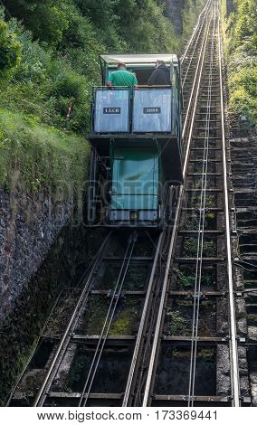 Lynmouth Devon England 13 July 2016: water-powered funicular between the villages of Lynton and Lynmouth.