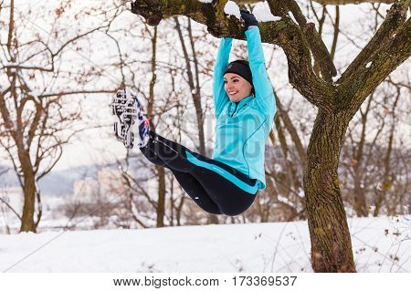 Female Fitness Sport Model Outdoor In Cold Winter Weather