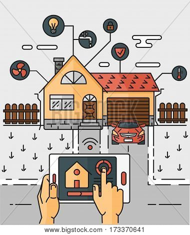 Vector line art illustration of an abstract scheme of the smart home, controlling through internet home work equipment. The concept of comfort and safety of a smart home.
