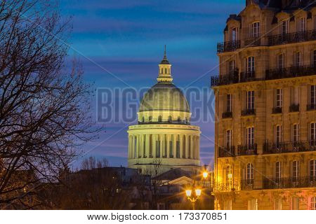 The Pantheon is a secular mausoleum containing the remains of distinguished French citizens.Located in the 5th arrondissement of Paris on the Mountain Saint Genevieve it looks out over all of Paris.