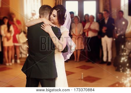 Gorgeous Emotional Bride And Stylish Groom Dancing At Wedding Party In Restaurant Reception. Happy L
