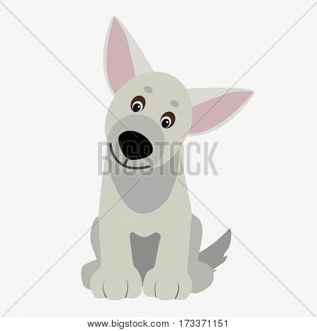 Playful dog white. Cartoon character. Children toy. Cute pet. Flat vector stock illustration