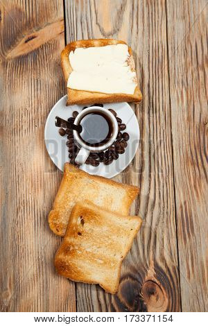 Breakfast, Toast And Coffee On A Wooden Background