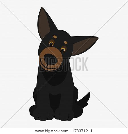 Playful dog black. Cartoon character. Children toy. Cute pet. Flat vector stock illustration