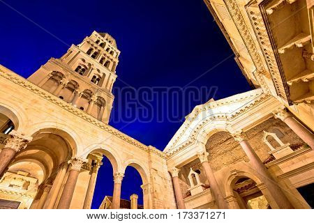 Split Evening View Of Cathedral And Peristil Square