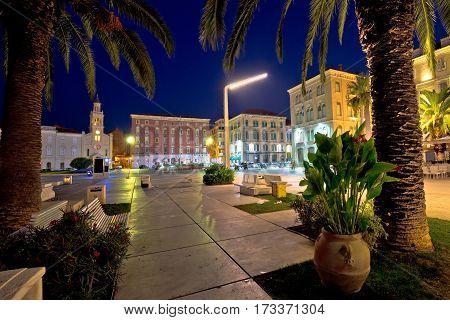 Split Riva Waterfront Evening View